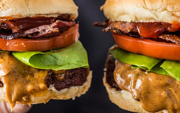 You heard us right. These burgers are slathered with a chipotle peanut butter mix and topped with crispy bacon and classic lettuce and tomato for a crazy delicious flavor combo.